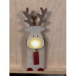 Christmas LED Wooden Deer with Illuminated Nose,with 6h timer, 524666 (25.3 cm)