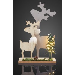 Christmas LED Wooden Deer Family, with 6h timer, 524086