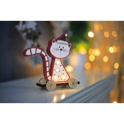 Christmas LED light decoration Wooden Cat sitting, 524185