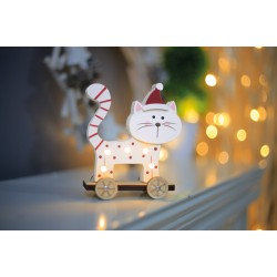 Christmas LED Wooden Cat standing, 524192