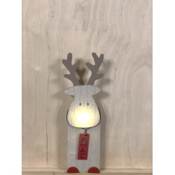 Christmas LED light decoration Wooden Deer with Illuminated Nose,with 6h timer, 524659 (20.0 cm)