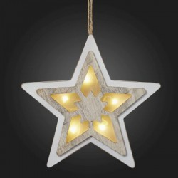 Christmas LED 3D Star, White-Washed Wood, for Suspending, 521047