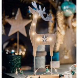 Christmas LED Wooden Deer with snowflake deco, 524079