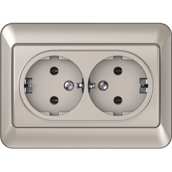 Vilma 2-way socket with earthing 16A/205V, RP16-021ch