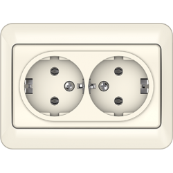Vilma 2-way socket with earthing 16A/205V, RP16-021iv