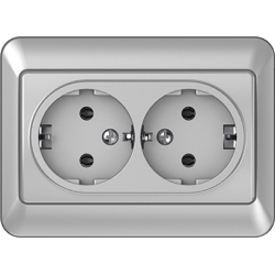 Vilma 2-way socket with earthing 16A/205V, RP16-021mt