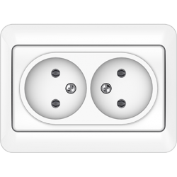 Vilma 2-way socket without earthing 16A/205V, RP16-020ww