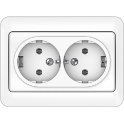 Vilma 2-way socket with earthing 16A/205V, RP16-021ww
