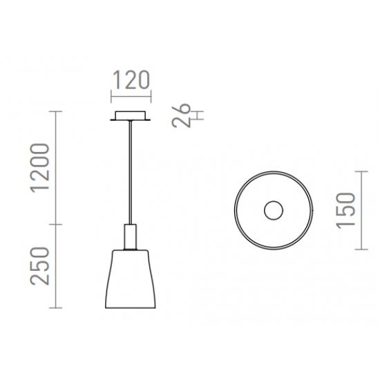 Rendl pendent lamp LED, 5W, 475lm, 3000K, BELLINI, R13652